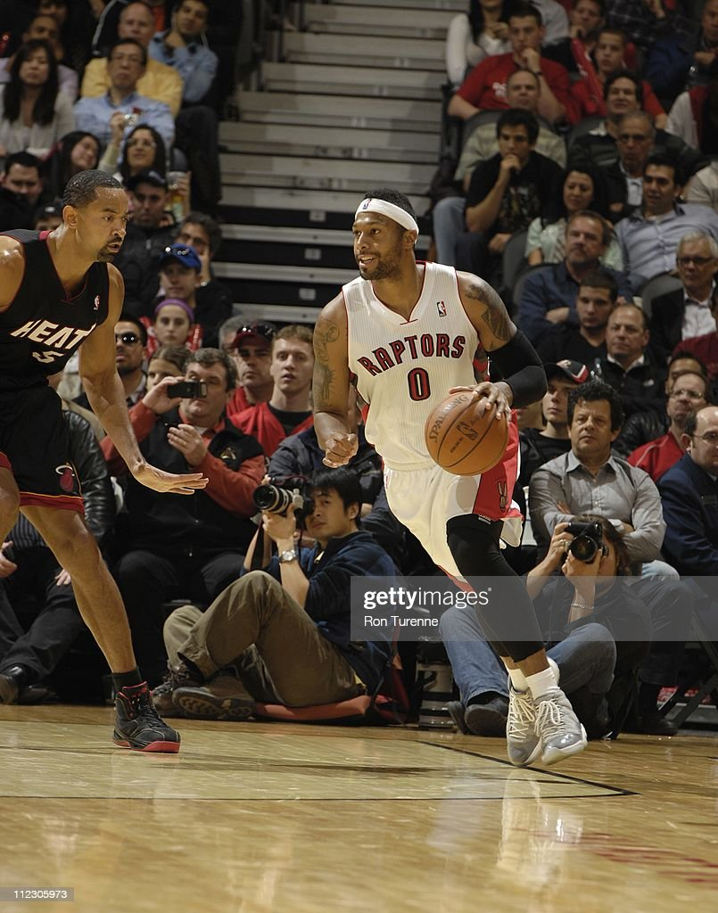 Toronto Raptors small forward James Johnson brings the ball up court during the game against the Miami Heat on April 13 2011 at the Air Canada Centre...