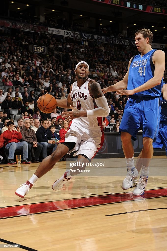 Toronto Raptors small forward James Johnson drives to the basket during the game against the Dallas Mavericks during the game on February 27 2011 at...