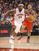 TORONTO ON FEBRUARY 27 Toronto Raptors small forward John Salmons drives to the paint during the game between the Toronto Raptors and the Washington...