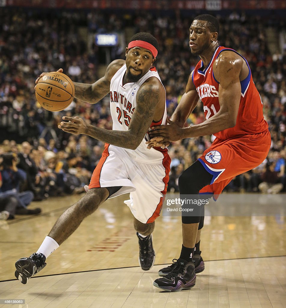 TORONTO ON DECEMBER 13 Toronto Raptors small forward John Salmons heads for the hoop past Philadelphia 76ers power forward Thaddeus Young late in the...