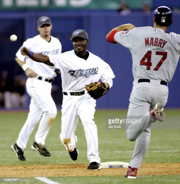 Toronto second baseman Orlando Hudson throws to first to complete a double play The Toronto Blue Jays defeated the St Louis Cardinals 52 at the...