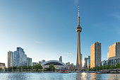 The beautiful Toronto's skyline with CN Tower over lake. Canada.