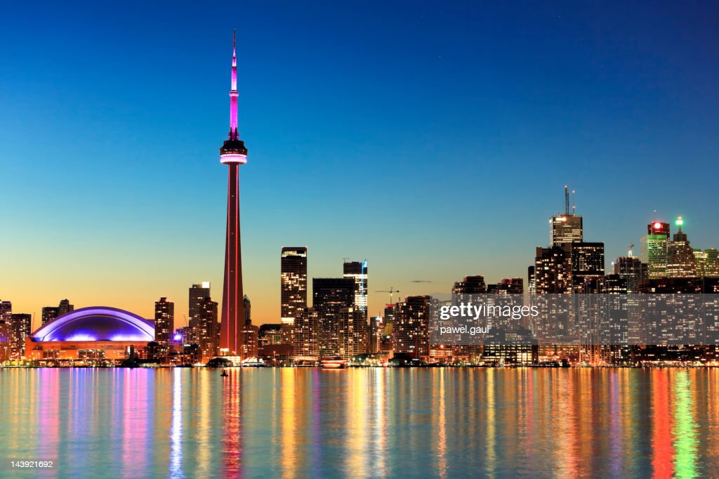 Toronto skyline by night : Stock Photo