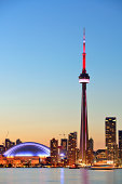 Toronto sunset over lake panorama with urban skyline.