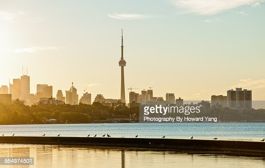 Toronto skyline under the warm morning light