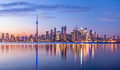 Toronto Skyline with purple light - Toronto, Ontario, Canada