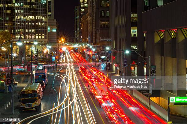 WEST TORONTO ONTARIO CANADA Toronto traffic in Queen Street West during night time long exposure Toronto traffic has increased in recent years...