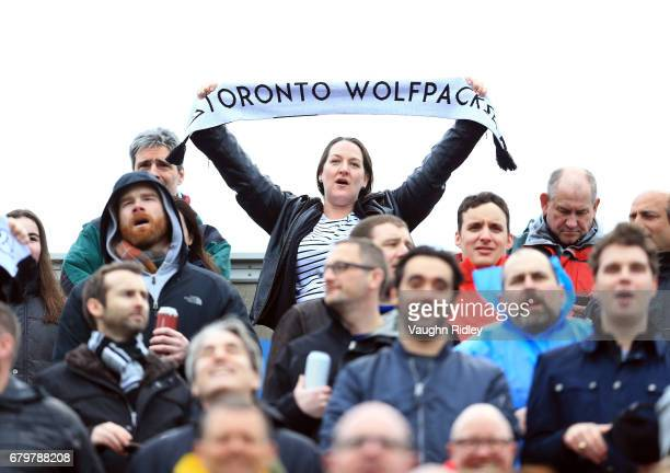 Toronto Wolfpack fans sing the national anthem prior to the first half of a Kingstone Press League 1 match against Oxford RLFC at Lamport Stadium on...