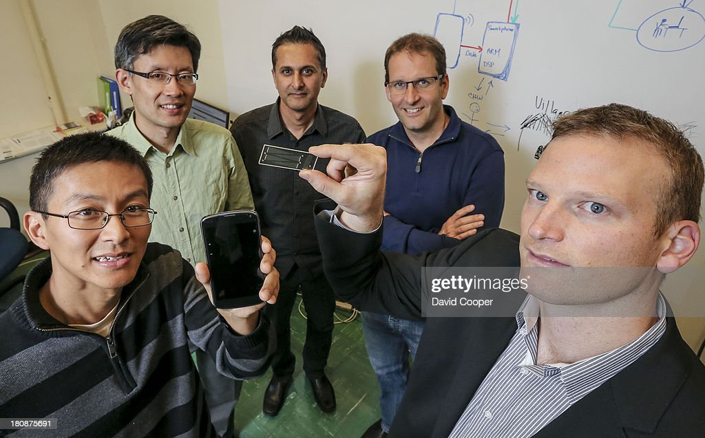 A Toronto-based research company (ChipCare Corp) is developing a 'lab on a chip'' -- a device which will allow HIV blood testing on the spot, by using pin pricks of blood an a chip device which can be connected to a smart phone. The company has just received a $2 million boost in financing, including money from a federal government-backed group called Grand Challenges. L-R are 1 Lu Chen, Director Instrument Development 2. James Dou, Chief Technical Officer 3. Rakesh Nayyar, Chief Scientific Officer 4. James Fraser, Chief Executive Officer 5. Adrian Schauer, Chairman of the Board.