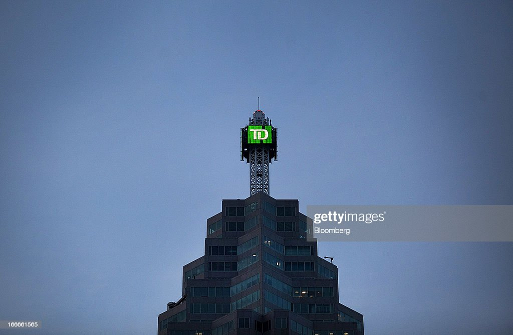 Toronto-Dominion Bank's TD Canada Trust Tower stands in Toronto, Ontario, Canada, on Sunday, April 14, 2013. The Canadian dollar fluctuated against its U.S. counterpart amid speculation the economy is slowing after an unexpected jobs loss last month. Photographer: Pawel Dwulit/Bloomberg via Getty Images
