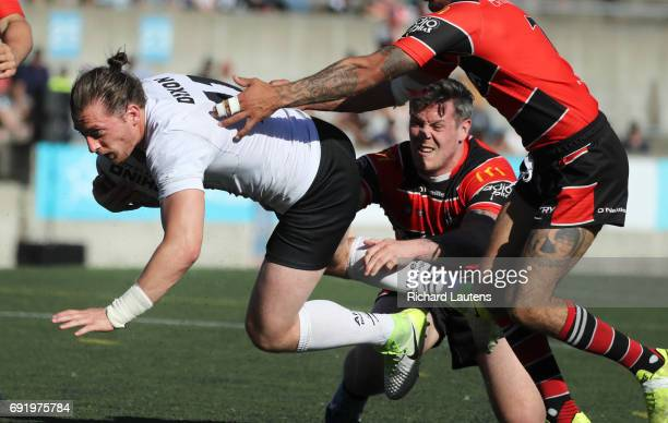 TORONTO ON JUNE 3 Toronto's Andrew Dixon lunges for the try line in the second half Canada's first professional rugby team the Toronto Wolfpack beat...