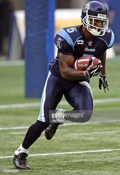 Toronto's Arland Bruce III returns a punt as the Montreal Alouettes play the Toronto Argonauts in CFL Football action at Rogers Centre in Toronto...