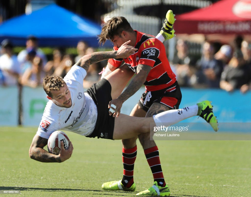 TORONTO, ON - JUNE, 3 Toronto's Gregory Worthington (white) goes down at the hands of Brad Delaney in first half action. Canada's first professional rugby team the Toronto Wolfpack beat the Coventry Bears 56-12 in English Rugby Football League action at Lamport Stadium in Toronto. June 3, 2017 Richard Lautens/Toronto Star