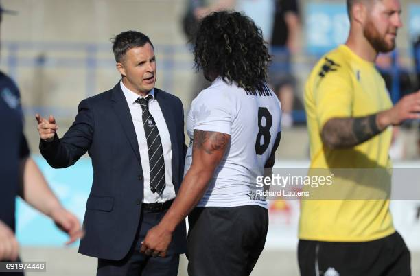 TORONTO ON JUNE 3 Toronto's Head Coach Paul Rowley chats with Fui Fui Moi Moi following the game Canada's first professional rugby team the Toronto...