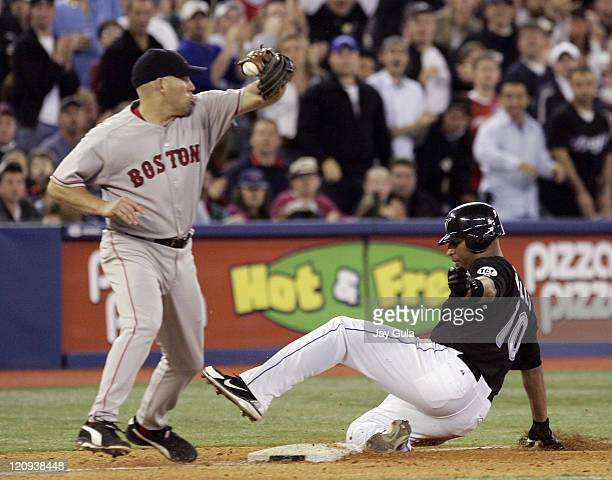 Toronto's Vernon Wells slides into third base with a 2 RBI triple ahead of the tag from Boston's Kevin Youkillis at Rogers Centre in Toronto Canada...