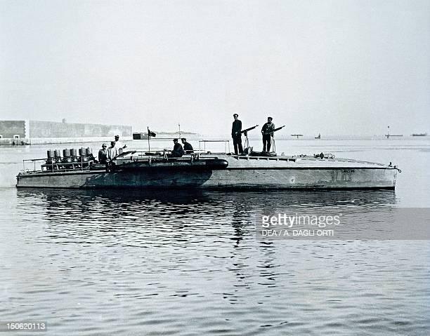 Torpedo armed motorboat or anti submarine motorboat known as Mas Orlando shipyard Leghorn 1917 World War I Italy 20th century