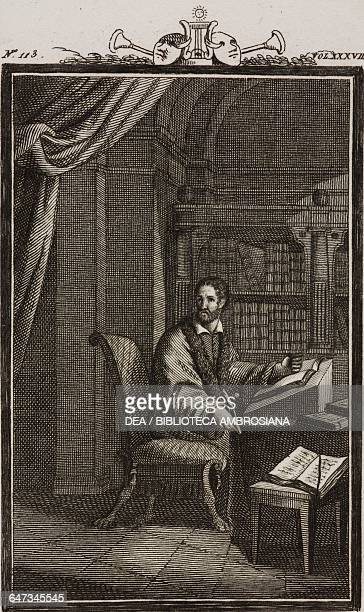 Torquato Tasso at his work table engraving by Antonio Viviani from a drawing by G Steneri from Torquato Tasso Act I Scene 1 Comedies Volume 38 by...