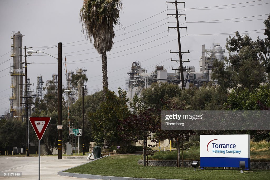 Torrance Refining Co. signage is displayed outside of the oil refinery in Torrance, California, U.S., on Friday, July 1, 2016. Exxon Mobil Corp. completed the sale of the Torrance refinery to PBF Energy on July 1. Photographer: Patrick T. Fallon/Bloomberg via Getty Images