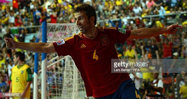 Torras of Spain celebrates after scoring his teams first goal during the FIFA Futsal World Cup Final at Indoor Stadium Huamark on November 18 2012 in...