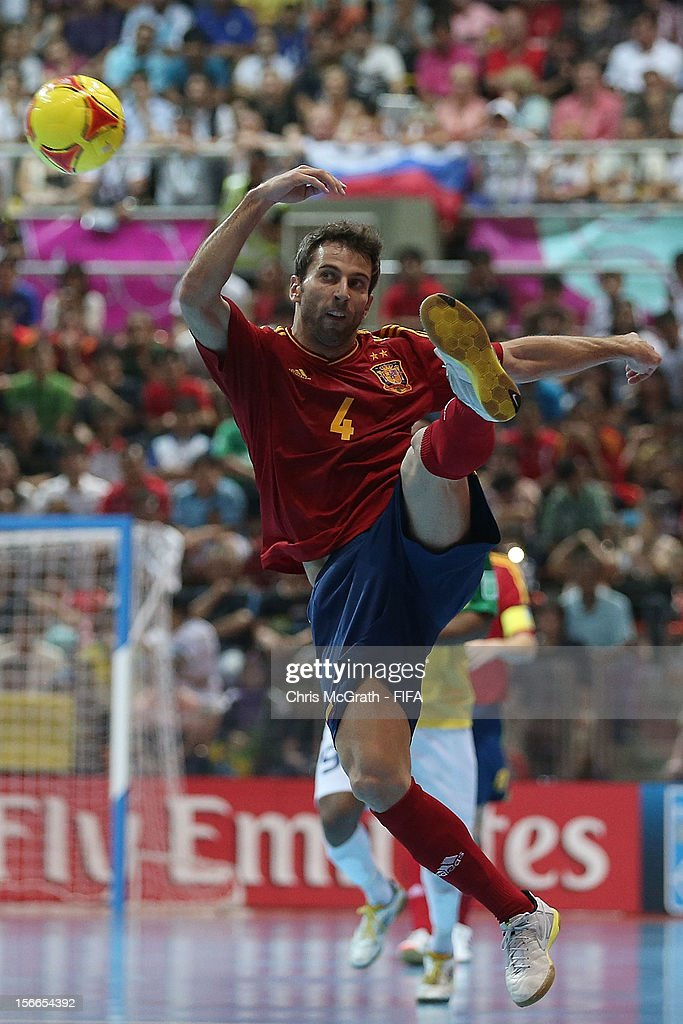 Torras #4 of Spain stops the ball during the FIFA Futsal World Cup Final between Spain and Brazil at Indoor Stadium Huamark on November 18, 2012 in Bangkok, Thailand.