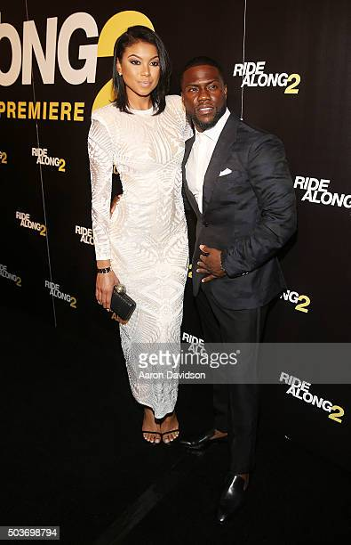 Torrei Hart and Kevin Hart attends the world premiere of 'Ride Along 2' at Regal South Beach Cinema on January 6 2016 in Miami Beach Florida