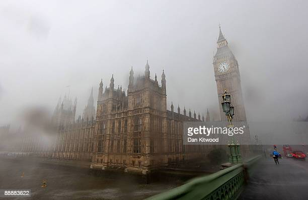 A torrential downpour over the Houses of Parliament on July 7 2009 in London England The south of England was hit by flash flooding and power cuts...