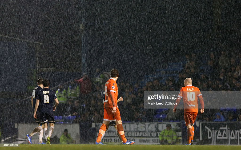Torrential rain at Roots Hall during the FA Cup Third Round match between Southend and Millwall at Roots Hall on January 4, 2014 in Southend, England.