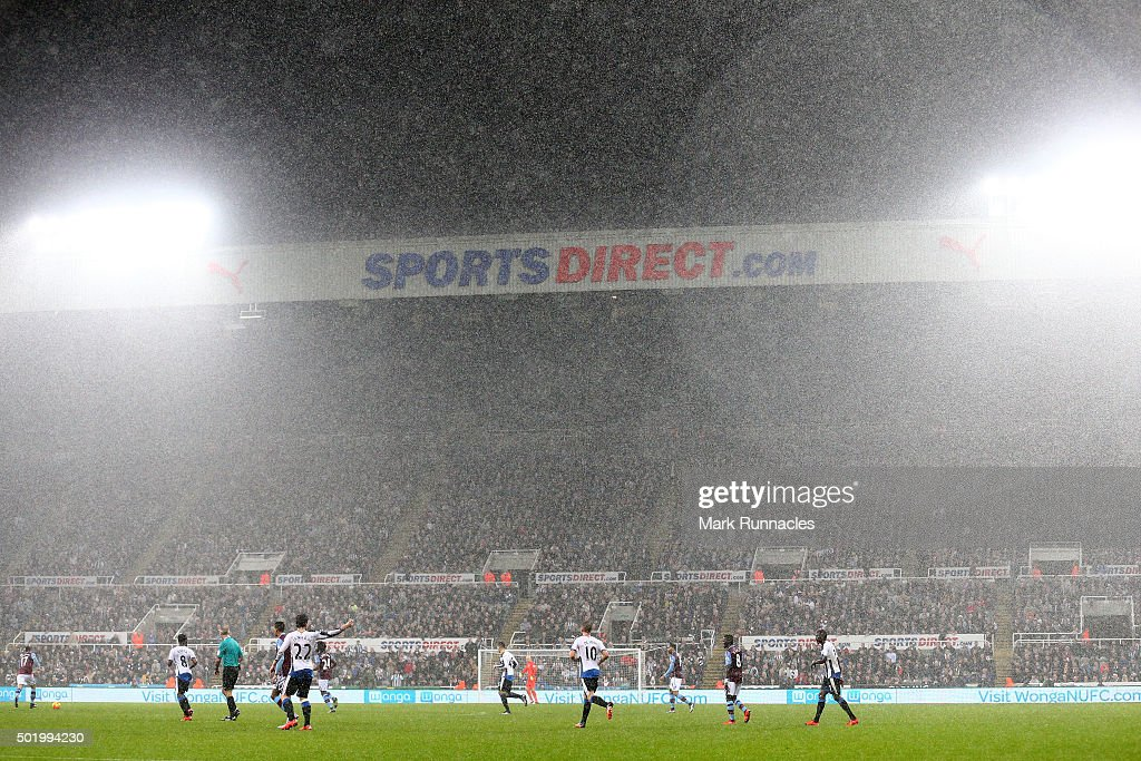 Torrential rain fall during the Barclays Premier League match between Newcastle United and Aston Villa at St James' Park on December 19, 2015 in Newcastle upon Tyne, England.