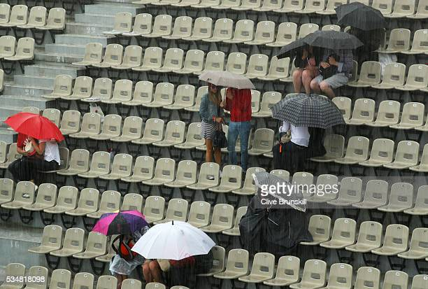 Torrential rain stops play on day seven of the 2016 French Open at Roland Garros on May 28 2016 in Paris France