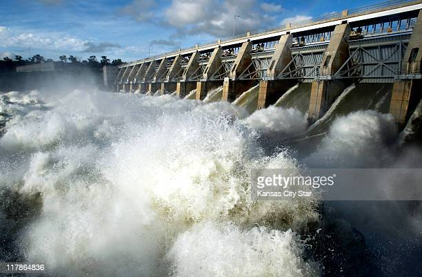 Torrents of water now roar through the Gavins Point Dam just outside Yankton South Dakota as the Corps of Engineers tries to keep pace with the...