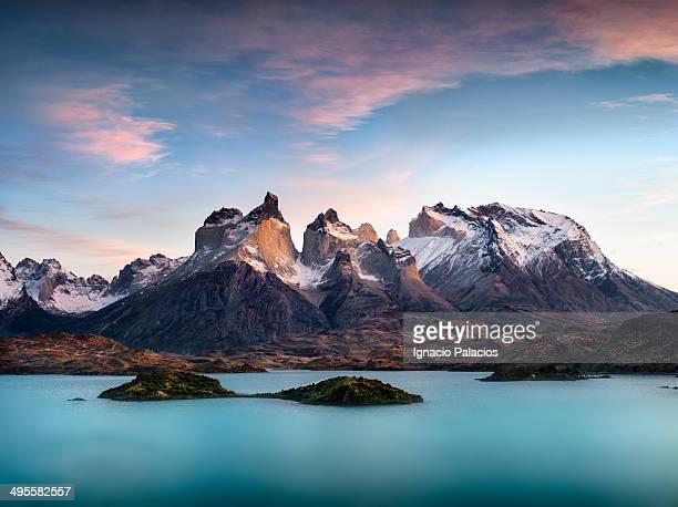 Torres del Paine at sunrise with Pehoe lake