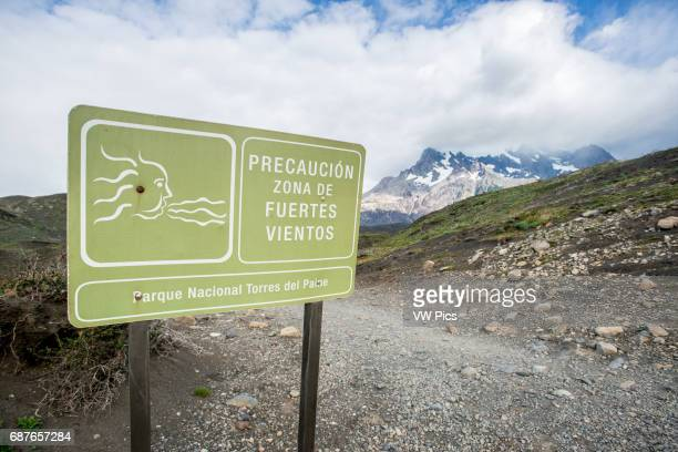 Torres del Paine National Park Spanish Strong Winds Sign