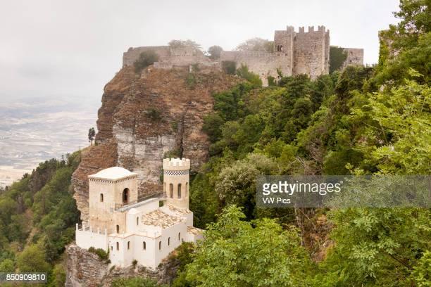Torretta Pepoli and Castello Di Venere behind Erice near Trapani Sicily Italy