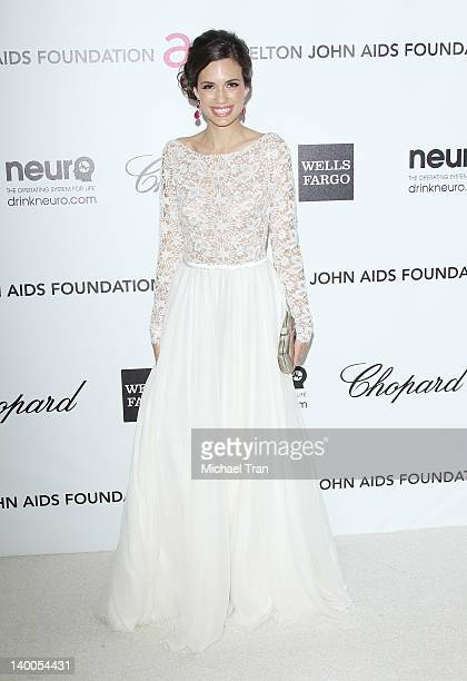 Torrey DeVitto arrives at the 20th Annual Elton John AIDS Foundation Academy Awards viewing party held across the street from the Pacific Design...