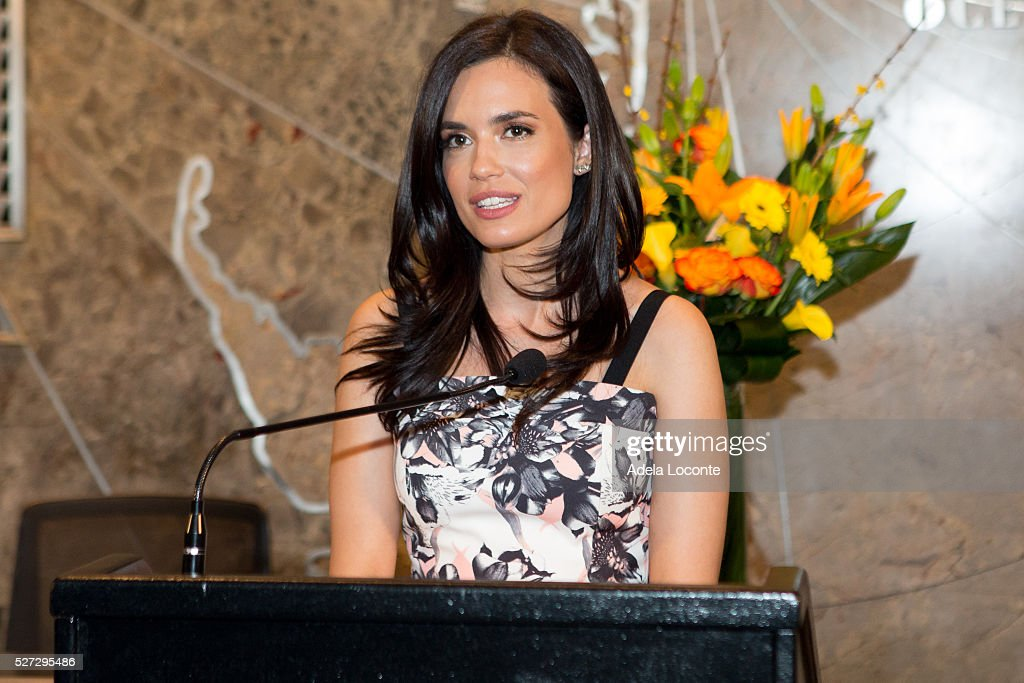 Torrey DeVitto Lights The Empire State Building Green In Honor Of Mental Health Month at The Empire State Building on May 2, 2016 in New York City.
