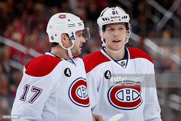 Torrey Mitchell and Lars Eller of the Montreal Canadiens during the NHL game against the Arizona Coyotes at Gila River Arena on March 7 2015 in...