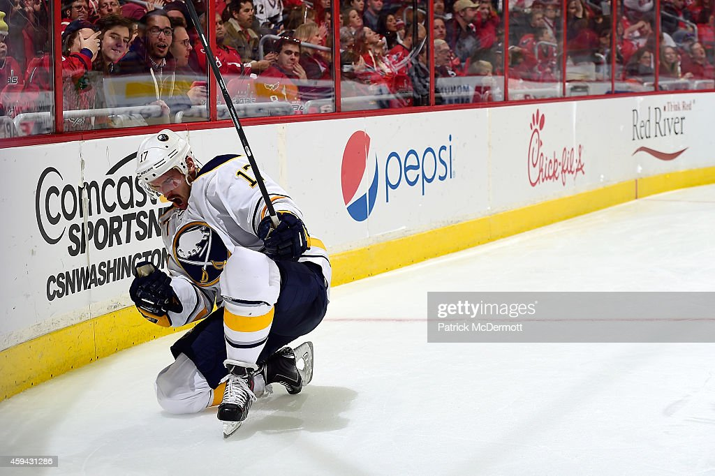 Torrey Mitchell of the Buffalo Sabres celebrates after scoring a goal in the third period during an NHL game against the Washington Capitals at...
