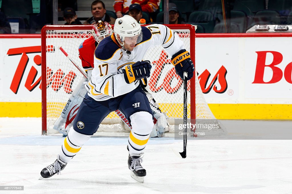 <a gi-track='captionPersonalityLinkClicked' href=/galleries/search?phrase=Torrey+Mitchell&family=editorial&specificpeople=4504539 ng-click='$event.stopPropagation()'>Torrey Mitchell</a> #17 of the Buffalo Sabres skates against the Calgary Flames at Scotiabank Saddledome on March 18, 2014 in Calgary, Alberta, Canada. The Flames won 3-1.