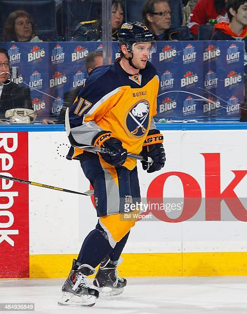 Torrey Mitchell of the Buffalo Sabres skates against the Detroit Red Wings on April 8 2014 at the First Niagara Center in Buffalo New York