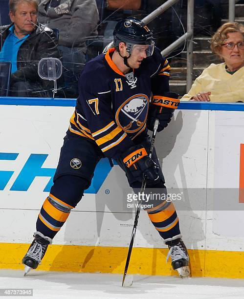 Torrey Mitchell of the Buffalo Sabres skates against the New York Islanders on April 13 2014 at the First Niagara Center in Buffalo New York