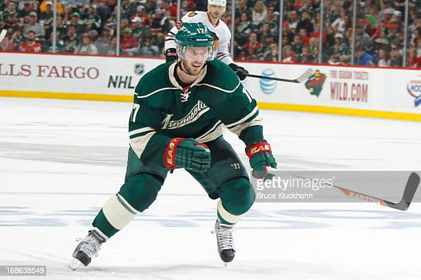 Torrey Mitchell of the Minnesota Wild skates against the Chicago Blackhawks in Game Four of the Western Conference Quarterfinals during the 2013 NHL...