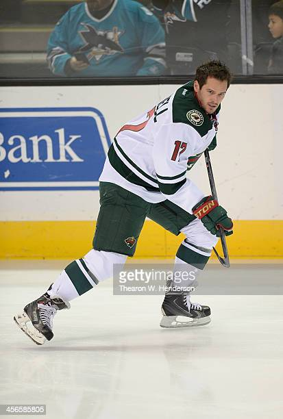 Torrey Mitchell of the Minnesota Wild skates during warm ups prior to playing the San Jose Sharks at SAP Center on December 12 2013 in San Jose...