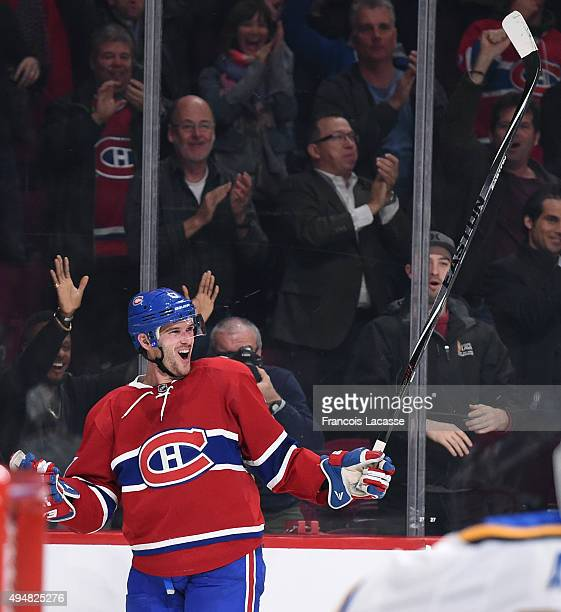 Torrey Mitchell of the Montreal Canadiens celebrates after scoring a goal against the StLouis Blues in the NHL game at the Bell Centre on October 20...