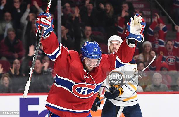 Torrey Mitchell of the Montreal Canadiens celebrates after scoring a goal against the Buffalo Sabres in the NHL game at the Bell Centre on March 10...