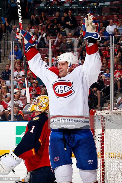 Torrey Mitchell of the Montreal Canadiens celebrates his goal during the second period against the Florida Panthers at the BBT Center on April 2 2016...
