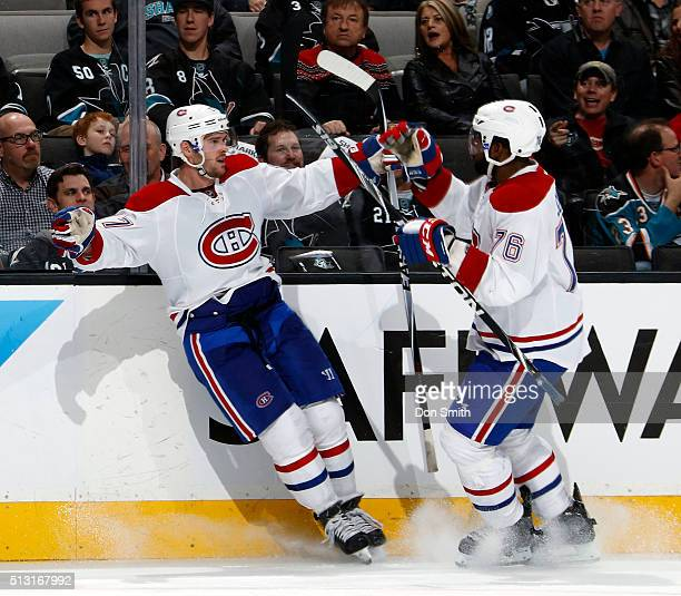Torrey Mitchell of the Montreal Canadiens celebrates his goal with PK Subban of the Montreal Canadiens against the San Jose Sharks during a NHL game...