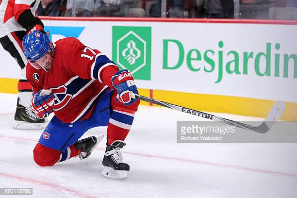 Torrey Mitchell of the Montreal Canadiens celebrates his second period goal against the Ottawa Senators during Game One of the Eastern Conference...