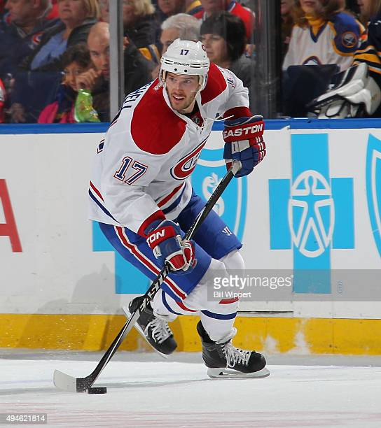 Torrey Mitchell of the Montreal Canadiens skates against the Buffalo Sabres during an NHL game on October 23 2015 at the First Niagara Center in...