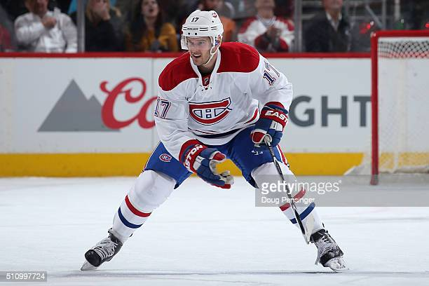 Torrey Mitchell of the Montreal Canadiens skates against the Colorado Avalanche at Pepsi Center on February 17 2016 in Denver Colorado The Avalanche...