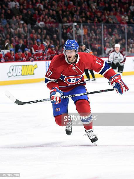 Torrey Mitchell of the Montreal Canadiens skates against theColorado Avalanche in the NHL game at the Bell Centre on November 14 2015 in Montreal...